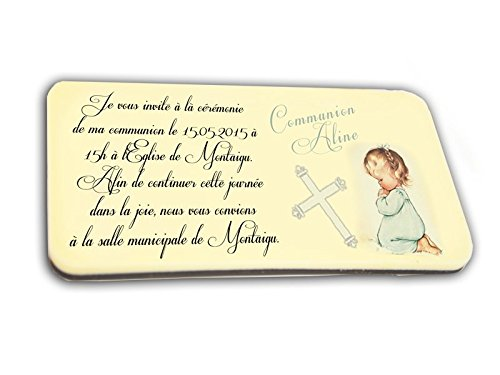 CARTE D'INVITATION en chocolat thème COMMUNIANT personnalisée avec votre photo et votre texte - pour baptême mariage communion - invitation en chocolat design et moderne ivoire et mauve