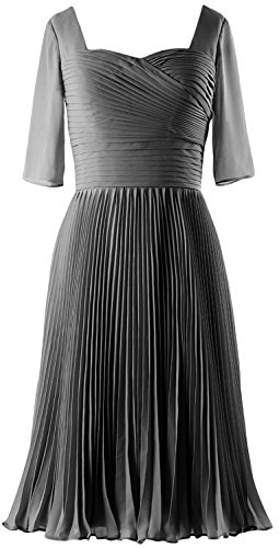 MACloth Women Half Sleeves Mother of Bride Dress Chiffon Cocktail Formal Gown gray