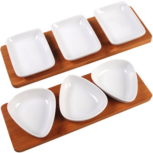 4tlg Dip Schalen Set Dipschalen Porzellan Schale Platte Bambus Snackschale Snack (Form: Oval)