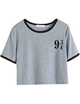 ZKOO Mujeres Camisetas Digital impresión Manga Corta T Shirt Blusas Cultivo Camisetas Tops De Verano