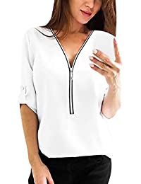 SEWORLD Damen Mode Freizeit Solide Oberteile Bluse Herbst Einzigartig  Frauen Retro Damenmode Tops Shirt Damen V-Ausschnitt Reißverschluss… 749e1f991c