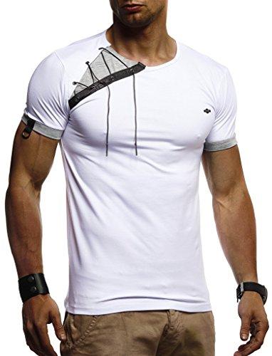 LEIF NELSON Herren Sommer T-Shirt Rundhals-Ausschnitt Slim Fit Baumwolle-Anteil | Moderner Männer T-Shirt Crew Neck Hoodie-Sweatshirt Kurzarm lang | LN1245 Weiß Medium