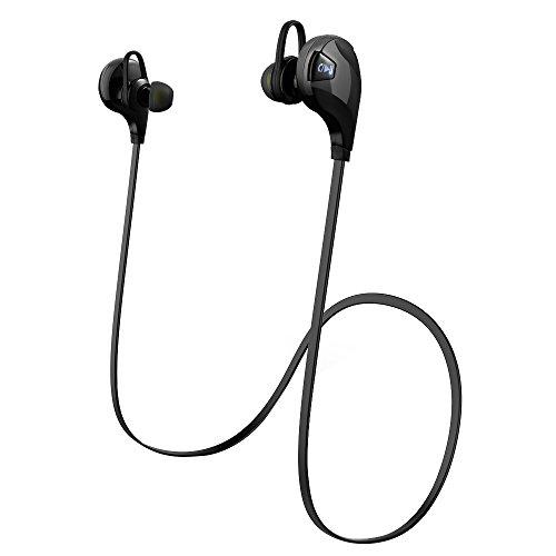 Patuoxun Bluetooth Cuffia V4.0, Senza Fili Bluetooth Sport Cuffie con Microfono [Palestra / funzionare / Sport / esercitazione / sweatproof],Bluetooth Wireless Earbuds per iPhone 6 / 6S, 6 Plus / 6s plus, 5 5c 5S 4s, iPad Air, Samsung Galaxy S6, S5, S4, S3 Nota 4 3, HTC M9 M8 M7, LG Flex 2 G3 G2, e altri Cellulari / Dispositivi- Nero