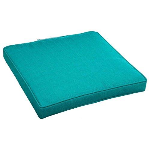 Galette de chaise carrée déhoussable - 40 x 40 cm - Polyester - Bleu