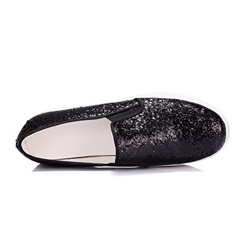 AgooLar Femme à Talon Correct Couleur Unie Tire Matière Souple Rond Chaussures Légeres Noir