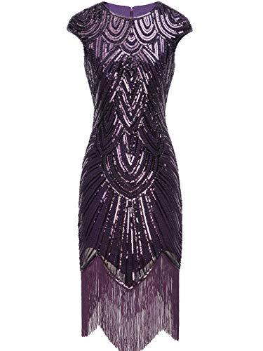 FAIRY COUPLE Damen 1920 Pailletten verschönert Quasten Falten Flapper Kleid YL20S02(S,Purple)