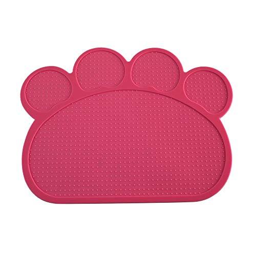 JKRTR Cartoon Paw Rutschfestes Tischset für Haustiere Hunde Katze(Pink,40x30cm)