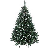 RS Trade 210 cm ca. 1400 Spitzen, Exklusiver dekorierter künstlicher Weihnachtsbaum mit Metallständer, beschneiten Spitzen und Tannenzapfen Deko, Farbe Natur-Schnee HXT 15013