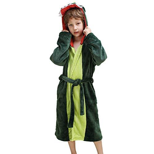 Albornoz de felpa con capucha de los muchachos de las muchachas - vestido de bata de baño del paño grueso y suave del dinosaurio (verde oscuro, 7-9 años)