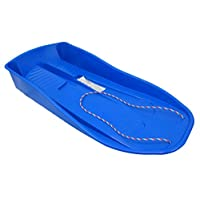 BLUE PLASTIC SNOW SLEDGE WITH ROPE HANDLE