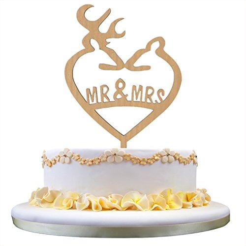 Toppers Hochzeitstorte Hirsch (Funny Deer Hochzeitstorte Topper, Mr & Mrs Monogramm Cake Topper, Hochzeitsgeschenk für Deer Lover (Holzfarbe))