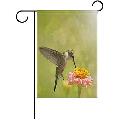 HujuTM Hummingbird on Zinnia Flower Polyester Garden Flag House Banner 12 x 18 inch, Two Sided Welcome Yard Decoration Flag for Wedding Party Home Decor -