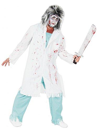 Arzt Erwachsene Kostüme (Foxxeo 40108 | Zombie Doktor Arzt Kostüm für Erwachsene Halloween Horror Party grün Gr. M - XXXL,)