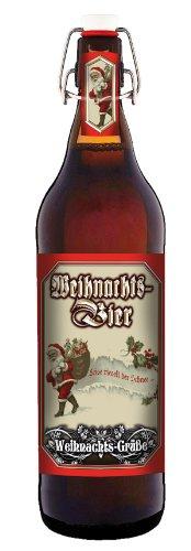 Weihnachts Grüße - Weihnachts-Bier 1 Liter Flasche mit Bügelverschluss