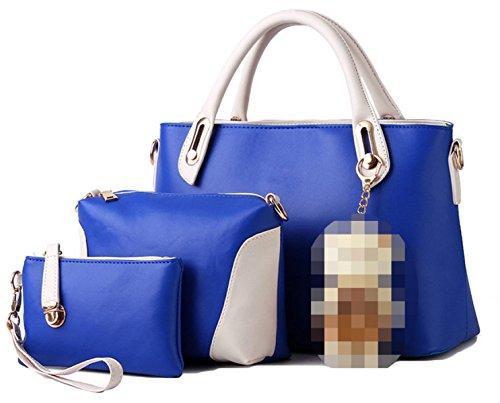 Donne Di Cuoio Di Cucitura PU Three-piece Borse Blue