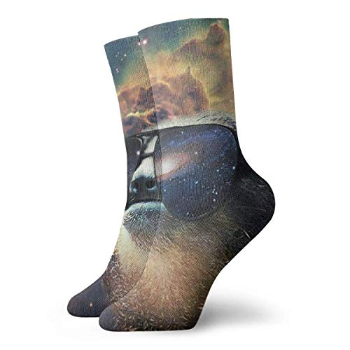 deyhfef Short Socks Crew Sock Cool Sloth with Sunglasses Galaxy 3D Printed Sport Athletic Socks 30cm Long Socks