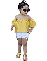 52b4ec48b SHOBDW Conjunto Rope para Bebe niña Verano Hombro Camisa para Niñas sin  Tirantes Blusa Moda Tops