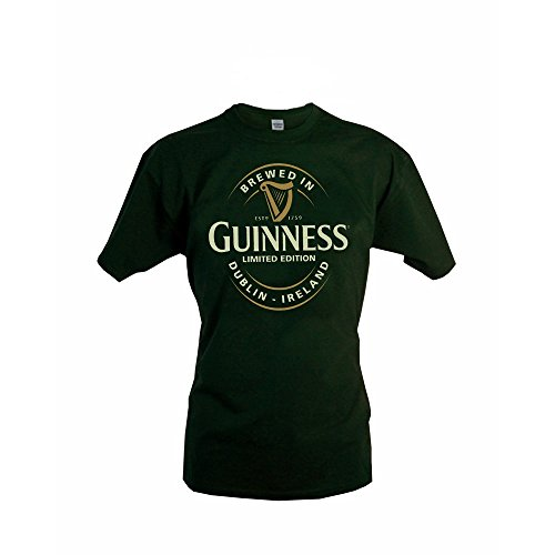 "Guinness-T-Shirt mit ""Brewed In Dublin""-Flaschenetikett, flaschengrün"