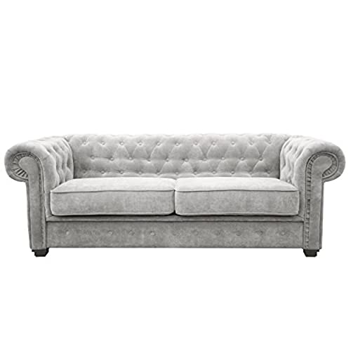 Great Chesterfield Style Sofa Bed Venus 3 Seater 2 Seater Fabric Light Grey Settee  (3seater, Light Grey)