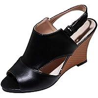 Sandalias Mujer Verano 2018 Casual �� Zapatos de Moda para Mujer Hebilla De Cinturón Tacones Altos Sandalias Sandalias de Las cuñas de Las señoras Salvajes