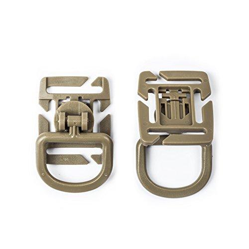 OneTigris 4 Stück 360° Drehung Multipurpose/Mehrzweck Kunststoff D-Ring Schnalle Grimloc MOLLE Gurtband Befestigung Rucksäcke EDC (Khaki) - Y-achsen-riemen