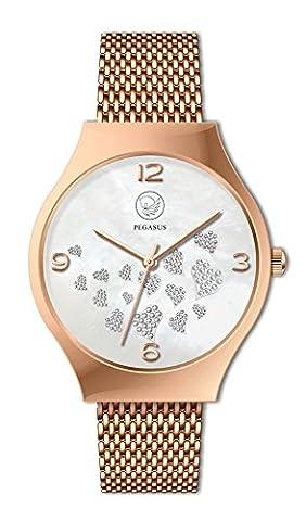 Joynesse Roségold Herzen Magnet Heart Armbanduhr Premium Pegasus Energy Watch