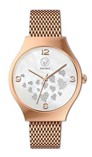 Energetix-4you Damen Magnetschmuck Rose Gold Uhr analog Automatik mit Edelstahl Armband 3183