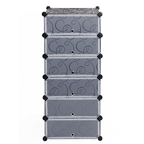 Songmics 6 Ebenen Schuhregal Kunststoff Steckregal Schuhschrank Regalsystem 107 x 50 x 37 cm LPC06H