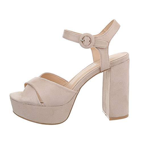 Strap High Heel (Ital-Design Damenschuhe Sandalen & Sandaletten High Heel Sandaletten Synthetik Beige Gr. 37)