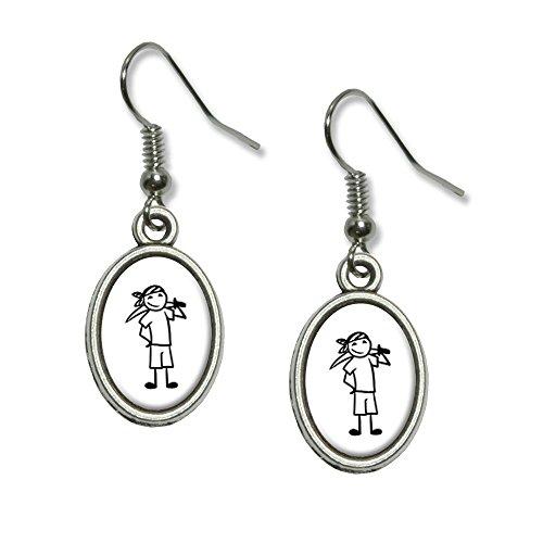 chmännchen–Boy Neuheit Dangling Drop oval Charm-Ohrringe (Strichmännchen Kostümen)