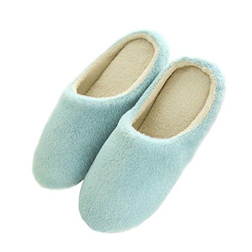 SAGUARO® Coton Peluche Pantoufles Automne Hiver Chaussons Femme Homme Mules Accueil Slippers Doublure Intérieure Douce Chaussures Bleu