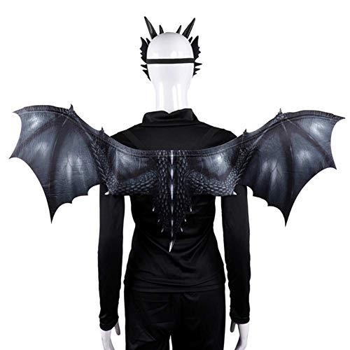 Da Carnevale Kostüm Adulti - JYPCBHB Halloween Karneval Ostern Fledermausflügel Kostüme Wicked Maske und Flügel Set Cosplay Maske für Erwachsene für Kinder Kinder Gray
