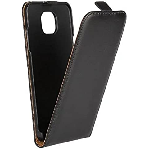 LG X CAM Case, ACMBO(TM) Genuine Split Leather Vertical Flip Mobile Phone Case Cover For LG X CAM, Black
