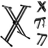 Kadence Heavy-Duty, Double-X, Adjustable Piano Keyboard Stand with Locking Straps (NK13-3kg Dual Braced)