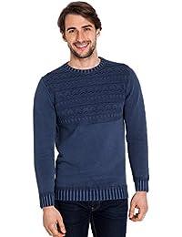 WoolOvers Pull à col rond et surpiqûres - Homme - 100 % coton