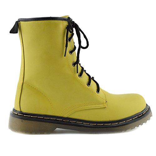 Alla Caviglia Funky, Anfibi Donna Pizzo retrò vintage Goth Martin stivali alla caviglia, giallo (Yellow), 39