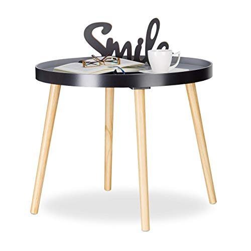 Relaxdays Table d'appoint Ronde, Design scandinave, Table de Salon ou Chevet, HxØ : 51 x 65 cm, Bois, Noir Gris