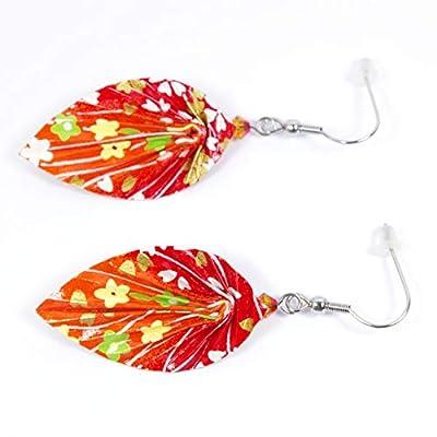 Boucles d'oreilles feuilles origami rouges et oranges - crochets inox