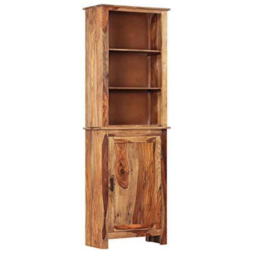 Festnight- Highboard mit 1 Schrank und 3 Fachböden Bücherschrank Bücherregal Kommode Sideboard Wohnzimmerschrank für Wohnzimmer 60x30x180 cm Massivholz Sheesham