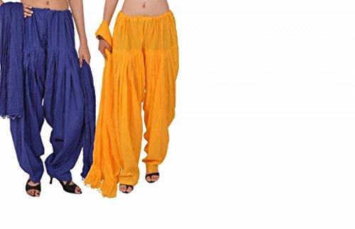 Stylenmart Women's Cotton Patiala Salwar Dupatta Combo(STMATCPD078605_Multi-Coloured_Free Size)