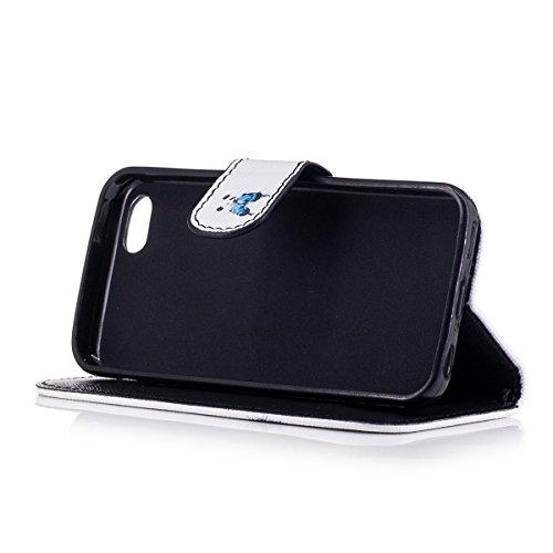 iPhone 5C Hülle,iPhone 5C Ledertasche Handyhülle Brieftasche im BookStyle,SainCat Retro 3D Muster Marmor PU Leder Hülle Wallet Case Folio Schutzhülle Scratch Bumper Handytasche Backcover Handy Tasche  Panda