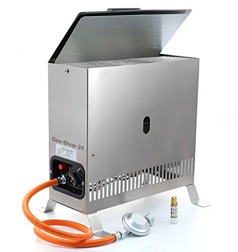 Edelstahl Gewächshausheizung / Frostwächter 4 kW mit Gasschlauch , Druckminderer u. Schlauchbruchsicherung (Gasheizung, Heizung, Standheizung, Gewächshaus, Gartenhaus, Campingheizung)