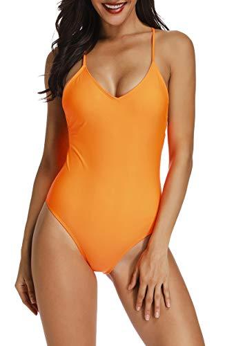 INSTINNCT Costume da Bagno 1 Pezzo Donna Sexy Monokini Bendaggio Incrociato Vita Alta Imbottito Beachwear Costume Intero Mare e Piscina Bikini