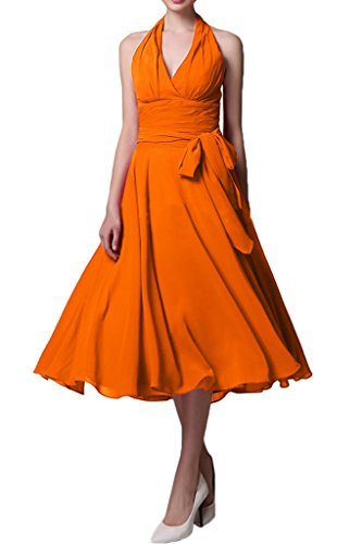 Gorgeous Bride Beliebt Kurz Neckholder Empire Chiffon Brautjungfernkleid Cocktailkleid Partykleid Orange