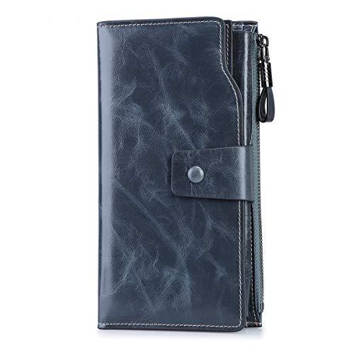 S-ZONE Damen groß Kapazität Luxus echtes Leder Geldbörsen mit Reißverschluss-Tasche (Grau Blau)
