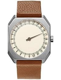 Slow Jo 09 - Reloj suizo unisex de 24 horas plateado, con suave correa de cuero marrón