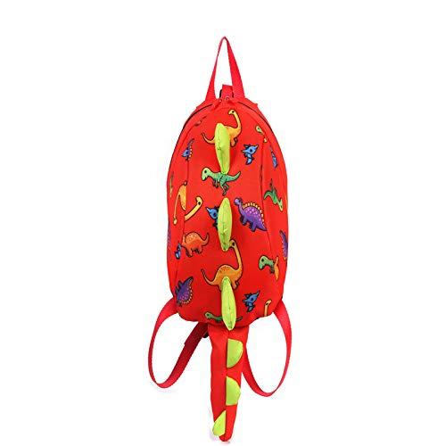 XMYNB Kinder Schultasche Dinosaurier Kinder Kindergarten Schultasche Cartoon Kinder Baby Rucksack Rot 20 * 12 * 26 cm