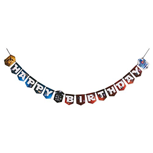 Star Wars Geburtstagsbanner - Happy Birthday Girlande aus Karton ca 2,31 m lang -
