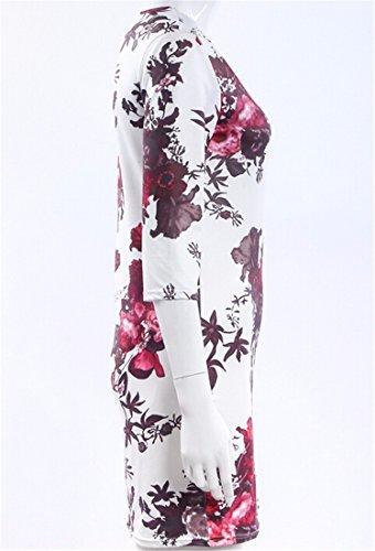 QIYUN.Z Elegante Moda Donna Modello Floreale Piu Bodycon Formato Abito Estivo Da Cocktail Bianca