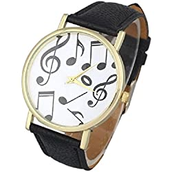 Mallom® Stylish Casual Musical Notes Wrist Watch Black